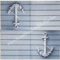 Szalvéta, tenger, horgony, kékesszürke, 33x33 cm (24)