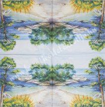 Szalvéta, tenger, sirályok, 32x32 cm, 1 darab