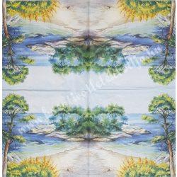 Szalvéta, tenger, tengerpart fákkal, 32x32 cm, 1 darab