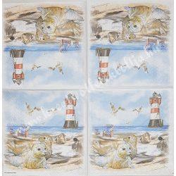 Szalvéta, tenger, világítótorony fókákkal, 25x25 cm, 1 darab