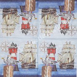 Szalvéta, tenger, világítótorony, hajóval, sirályokkal, 25x25 cm, 1 darab