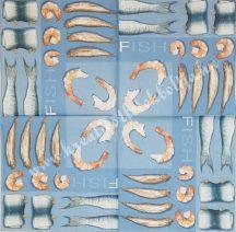 Szalvéta, tenger, tengeri étel, 32x32 cm, 1 darab