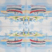 Szalvéta, tenger, kikötő, 32x32 cm, 1 darab