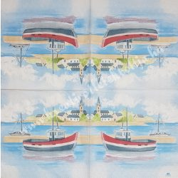 Szalvéta, tenger, kikötő, 33x33 cm (39)