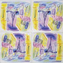 Szalvéta, trendi, Párizs, 32x32 cm, 1 darab