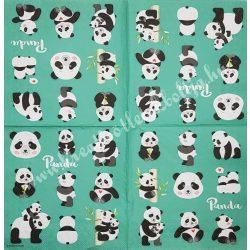 Szalvéta, vadállatok 1., pandák, 33x33 cm