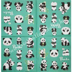 Szalvéta, vadállatok, pandák, 33x33 cm (1)