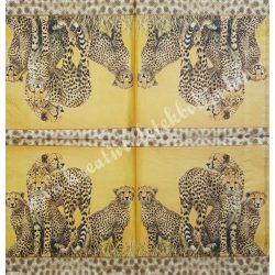 Szalvéta, vadállatok 22., leopárd, 33x33 cm