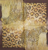 Szalvéta, vadállatok, leopárd, 32x32 cm, 1 darab