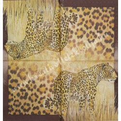 Szalvéta, vadállatok 23., leopárd, 33x33 cm
