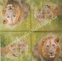 Szalvéta, vadállatok, oroszlán, 32x32 cm, 1 darab