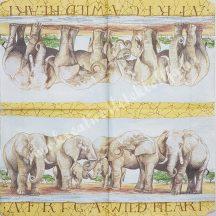Szalvéta, vadállatok, elefánt, 32x32 cm, 1 darab
