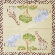 Szalvéta, vadállatok, zsiráf és elefánt, 32x32 cm, 1 darab