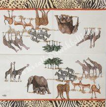 Szalvéta, vadállatok, afrikai vadon, 32x32 cm, 1 darab