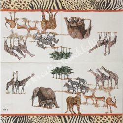 Szalvéta, vadállatok 35., afrikai vadon, 33x33 cm