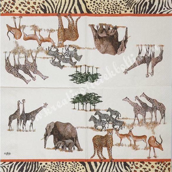 Szalvéta, vadállatok, afrikai vadon, 33x33 cm (35)