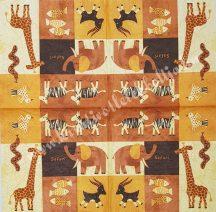 Szalvéta, vadállatok, gyerek vegyes, 32x32 cm, 1 darab