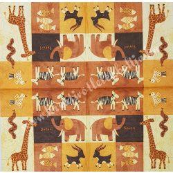 Szalvéta, vadállatok, gyerek vegyes, 33x33 cm (37)