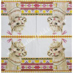 Szalvéta, vadállatok 4., láma, 33x33 cm