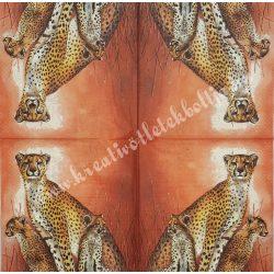 Szalvéta, vadállatok 5., leopárd, 33x33 cm