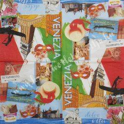Szalvéta, városok, 32x32 cm, Velence, 1 darab