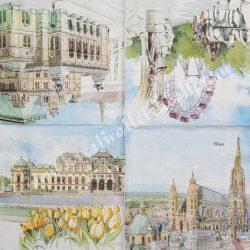 Szalvéta, városok, 32x32 cm, Bécs, 1 darab