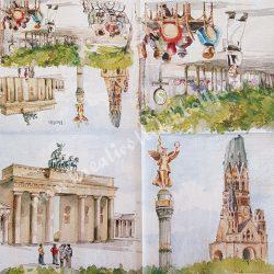 Szalvéta, városok, 32x32 cm, Berlin, 1 darab