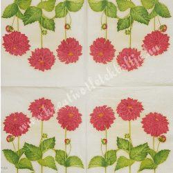 Szalvéta, virágok 12., dália, 33x33 cm