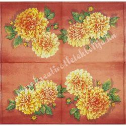 Szalvéta, virágok 13., dália, 33x33 cm