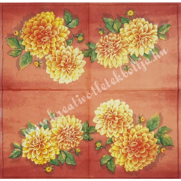 Szalvéta, virágok, dália, 33x33 cm (13)