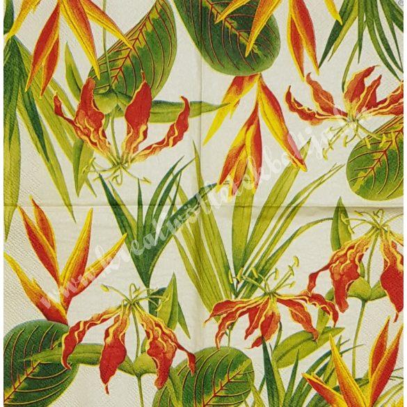 Szalvéta, virágok, liliom, 25x25 cm (2)
