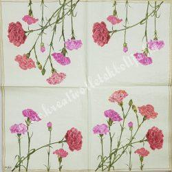 Szalvéta, virágok 20., szegfű, 33x33 cm