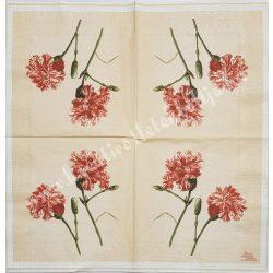 Szalvéta, virágok 21., szegfű, 33x33 cm