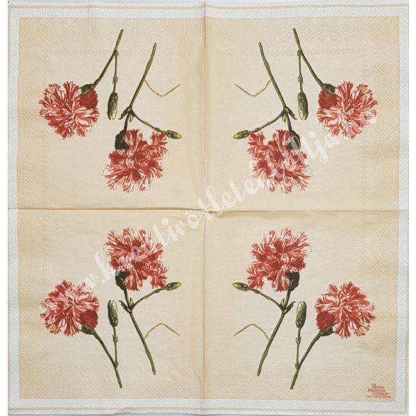 Szalvéta, virágok, szegfű, 33x33 cm (21)
