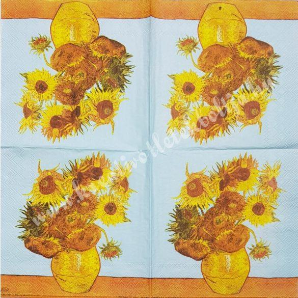 Szalvéta, virágok, napraforgó, 33x33 cm (39)