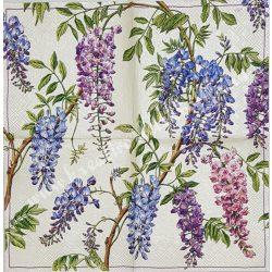Szalvéta, virágok 4., lila akác, 25x25 cm