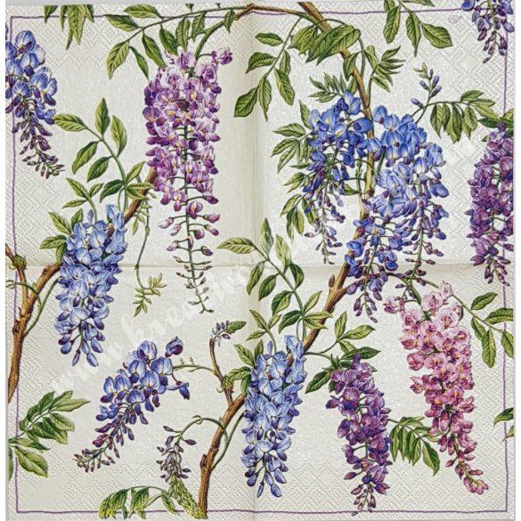 Szalvéta, virágok, lila akác, 25x25 cm (4)