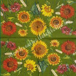 Szalvéta, virágok 42., napraforgó, 25x25 cm