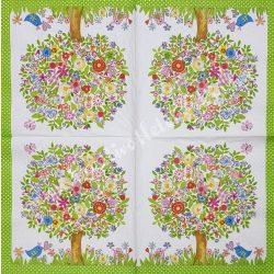Szalvéta, virágok 57., virágos fa, 33x33 cm