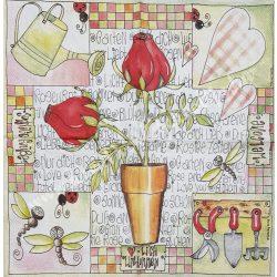 Szalvéta, virágok, kert, 33x33 cm (58)