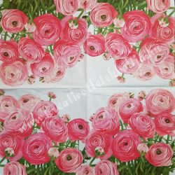 Szalvéta, virágok, 6, 33x33 cm
