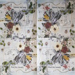 Szalvéta, virágok, 33x33 cm (84)