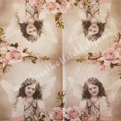 Szalvéta, vintage, kislány, 32x32 cm, 1 darab