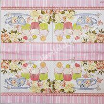 Szalvéta, édesség, tea és muffin, 32x32 cm, 1 darab