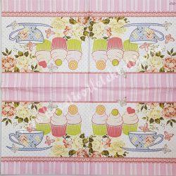 Szalvéta, édesség, tea és muffin, 33x33 cm (6)