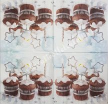 Szalvéta, édesség, téli muffin, 32x32 cm, 1 darab