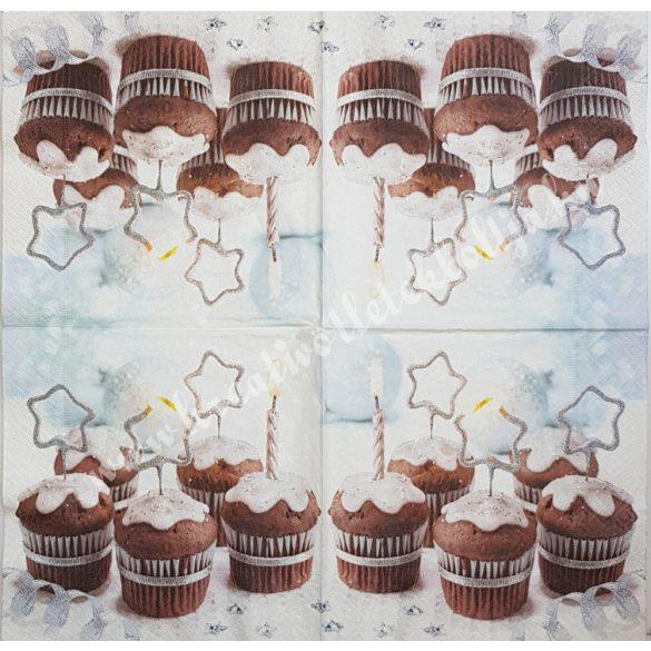 Szalvéta, édesség, téli muffin, 33x33 cm (7)