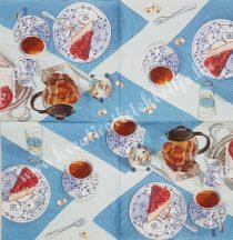 Szalvéta, kávé és tea, tea és torta, 32x32 cm, 1 darab