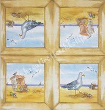 Szalvéta, tenger, sirály, 32x32 cm, 1 darab