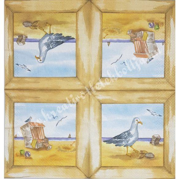 Szalvéta, tenger, sirály, 33x33 cm (25)